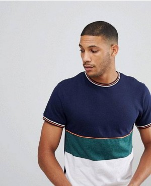 Cheep Prices Bellfield T Shirt In Colour Blocks With Knitted Cuffs
