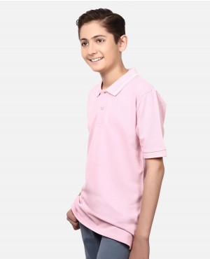 Children Boys Side Slits Short Sleeves Lose Poloshirt