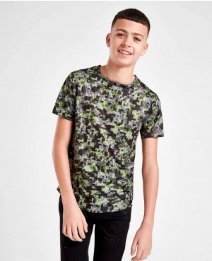 Childs Camoflage Custom Printing Short Sleeve Curved Hem Tees