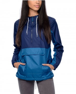 Cillian Navy Blue Pullover Women Windbreaker Jacket