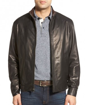 Classical Style Custom Lambskin Leather Jacket