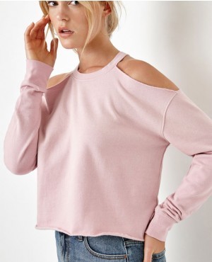 Cold Shoulder Crew Neck Sweatshirt