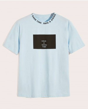 Collar Slogan Print Short Sleeve Tee