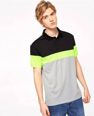 Color Chest Stripes Buttoned Polo Shirt
