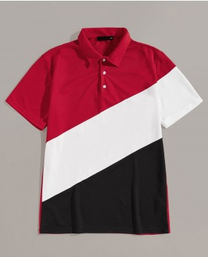 Colorblock Button Half Placket Polo Shirt