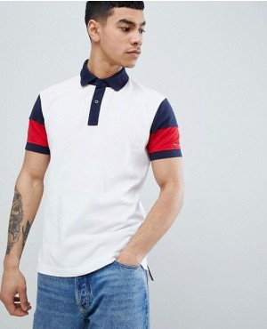 Colour Block Pique Polo Regular Fit In White