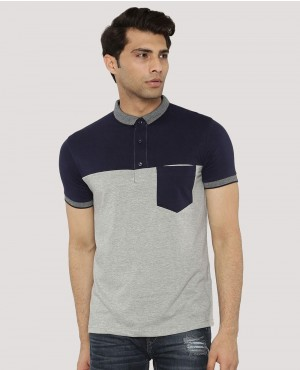 Colour Block Polo With Pocket