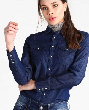 Comfortable Soft Sexy Look Buttoned Women Custom Branded Denim Shirt