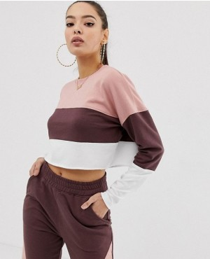 Contrast Blocks Panel Cropped Sweat