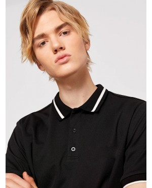 Contrast Panel Letter Patched Polo Shirt