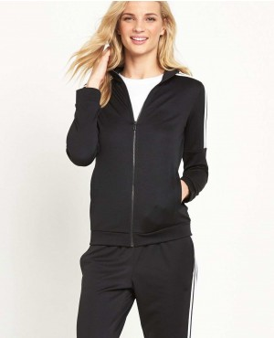 Contrast Side Stripe Zipper Hoodie Set Tracksuit