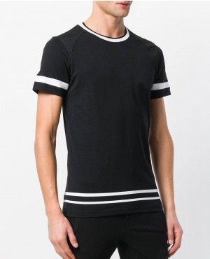 Contrast Stripe T Shirt With your Personalized Custom Brands