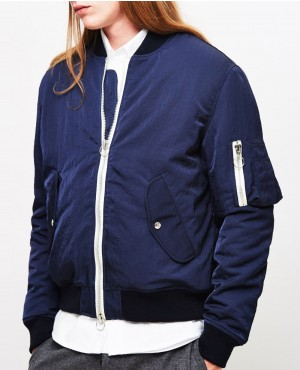 Cotton Jeans with White Zipper Varsity Style Jacket