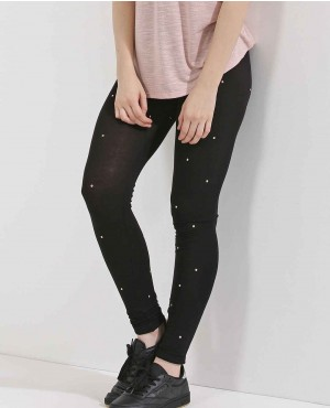 Cotton Jersey Studded Tights Leggings