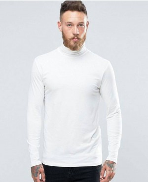 Cotton Roll Neck In Black and White Men Long Sleeve T Shirts