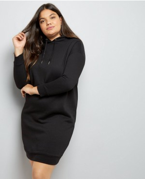 Curves Black Hoodie Longline Dress