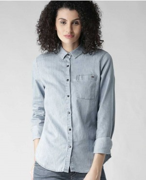 Custom Blue Slim Fit Solid Denim Shirt