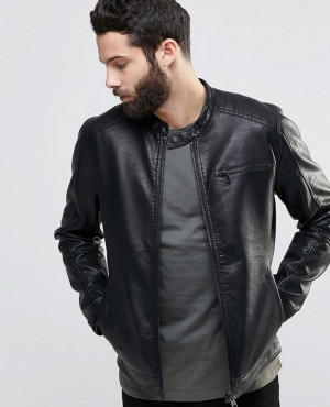 Custom Brand Mens Leather Jacket Functional Pockets Zipper