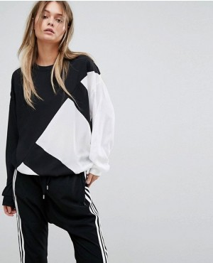 Custom Chiffon Panel Sweatshirt In Black And White