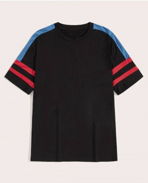 Custom Contrast Panel Striped T-Shirt