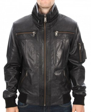 Custom Design Genuine Leather Bomber Satin Interior Zipper Front Welt Pocket Mens Leather Jackets