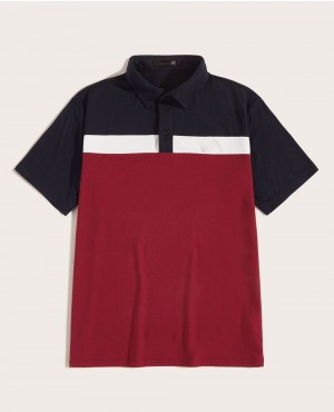 Custom Embroidered Detail Color Block Polo Shirt