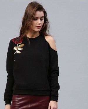 Custom Embroidery Cold Shoulder Sweatshirt