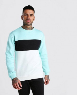 Custom Fashion Mint Colour Block Sweatshirt
