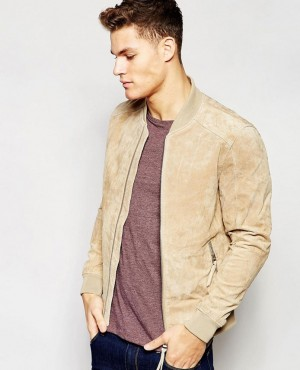 Custom High Quality Ribbed Collar Men Suede Bomber Leather Jacket