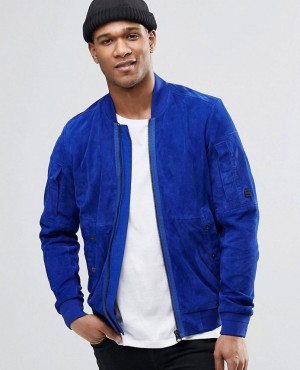 Custom High Quality Royal Blue Suede Bomber Jacket