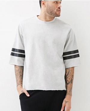 Custom Logo Short Sleeves Stripes Crewneck