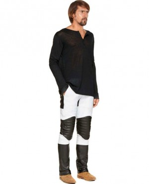 Custom Made Stylish Black Leather Pants with Quilted knee Panels