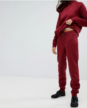 Custom Made Tight Fit Sweat Pants In Burgundy