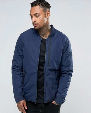 Custom Modern Varsity Style Zipper Jacket In Blue
