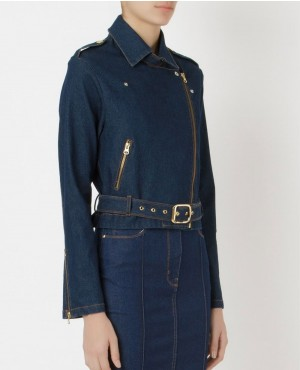 Custom Style Belted Denim Women Jacket