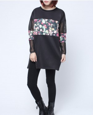 Custom Sublimation Design Panel With Side Zippers and Mesh Details Women Longline Sweatshirt