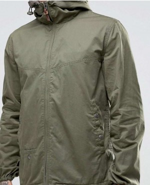 Custom Warm Jacket With Hood In Khaki