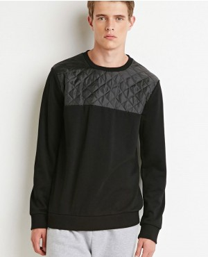 Custom Wholesale Top Quilted Paneled Crewneck