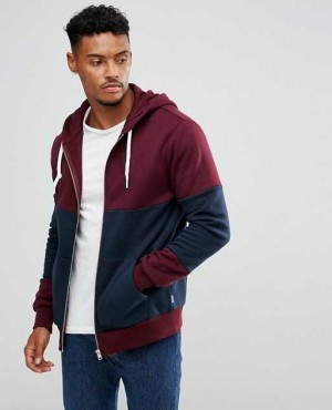 Custom Panel Zip Hoodie In Maroon RO 2030 20 (1)