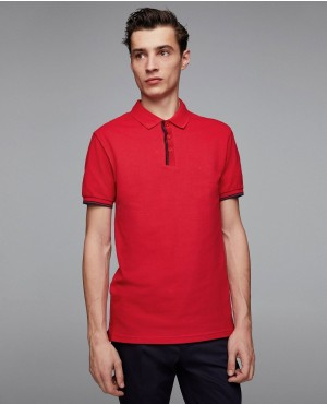 Customizable Basic Embroidered Red Polo Shirt