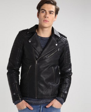 Customization Leather Racing Biker Jacket In Black