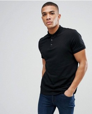 Cutomize Made Cotton Polo Shirt in Black Color