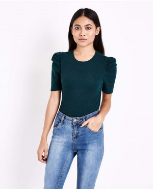 Dark Green Puff Sleeve Ribbed T Shirt