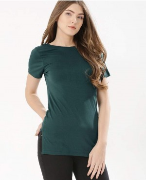 Deep V neck Back Longline T-Shirt