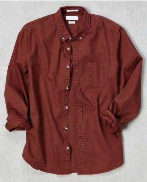 Denim Button Down Western Brown Shirt