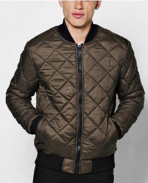 Diamond Quilted Bomber Varsity Jacket