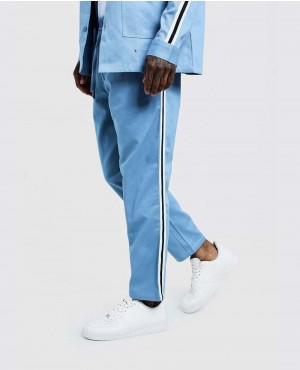 Dusty Blue Jogger Chino With Side Tape