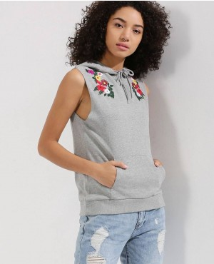 Embroidered Sleeveless Hoody