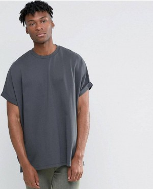 Extreme Oversized T-Shirt With Roll Sleeve In Washed Black Heavy Jersey
