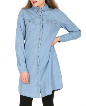 Fashion Canvas Blue Denim Shirt Dress